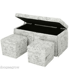 3Pcs French Script Patterned Storage Bench Cube Ottoman Set Footrest Stool Seat