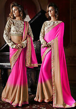 Bollywood Designer Sarees- Pink Shaded Satin Georgette Party Wear Saree