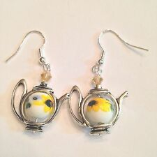 10 MM YELLOW SUNFLOWER CRYSTAL ACCENT TEA POT EARRINGS-925 STERLING SILVER WIRES