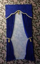 Dark Blue Dollhouse Curtains with Pleated Sheers -1:12 scale