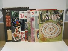 Plastic Canvas Booklets Lot of 8 Banners Doilies Calendar Eyeglass Pins Cases