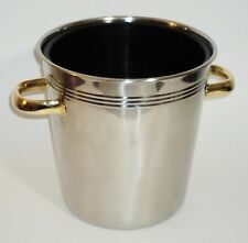 18/10 Stainless Steel Ice Bucket With Liner Gold Tone Handles Art Deco Style