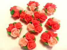 New 10 New Dark Light Orange Fimo Polymer Clay Flower Rose Bouquet  Beads 25mm