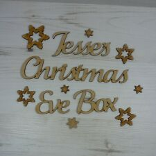 CHRISTMAS EVE BOX Words day personalized text name MDF wooden personalised
