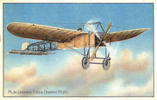 "M. DE Lesseps Biplane Cross Channel Flight ""Aviation"" Raphael Tuck Postcard"