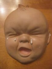 Vintage 1940 1950 Chalkware Crying Baby Face Wall Hanging Plaque Nursery Decor