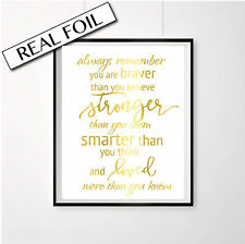 Inspirational Nursery Print, A3 foil poster, Christopher Robin Quote, Gold Art