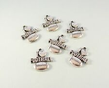 10 I Love Football charms for jewelry or crafts - silver tone - new