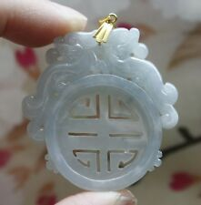 18K ** Certified Natural (A) Untreated Icy Lavender Jadeite JADE Dragons Pendent