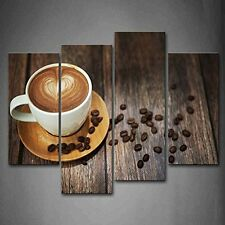 Brown Coffee In White Cup Wall Art Painting Picture Print Canvas Kitchen Decor