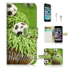 iPhone 7 (4.7') Flip Wallet Case Cover P1390 Football Cup Cake