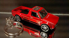 VW Volkswagen Pickup Truck Key Chain Ring Caddy Rabbit Diecast Dark Red