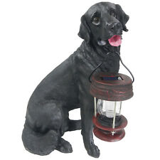 Outdoor Garden Solar Black Labrador Dog LED Latern Light Post Cap Landscape