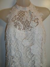 Free People XS Dress Knit Crochet Lace Floral Off White Nude Tunic Spring Party