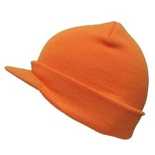 Neon Orange Solid Campus Visor Jeep Skull Knit Winter Beanie Cap Caps Hat Hats