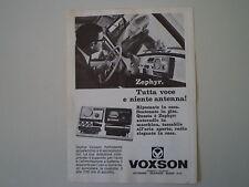 advertising Pubblicità 1968 AUTORADIO VOXSON ZEPHYR