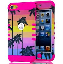 For iPod Touch 5th / 6th Gen - HYBRID HIGH IMPACT CASE COVER HOT PINK PALM TREES