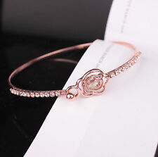 Elegant Flower Crystal Bangle Rose Gold Filled Cuff Chain Bracelet Jewelry CN120