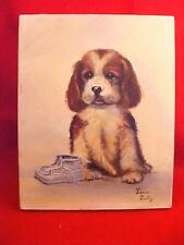 ADORABLE VINTAGE PORTRAIT PAINTING PUPPY DOG & SHOE OIL ON CANVAS ARTIST SIGNED