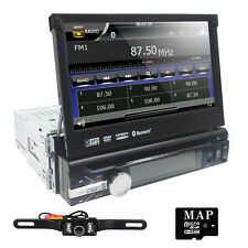 "Car Stereo DVD CD Player 7"" Flip Up Stylish UI AM FM Radio Single DIN BT+Camera"