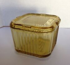 "Vintage Art Deco 4"" Square Yellow Depression Glass Refrigerator Dish W/ Lid"