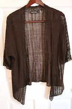 ZOZO Womens Brown Open Knit Linen Blend Cardigan Sweater XL