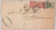 ITALIA REGNO: storia postale - Sassone T14 + T15 coppia su BUSTA da MILANO