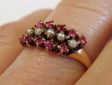 GORGEOUS ANTIQUE OSTBY BARTON 10K ROSE GOLD RUBY SEED PEARL RING SZ 6 RARE MARK!