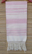 Pink White Handwoven Mexican Tlaxcala Shawl Bandana Pareo Scarf Rebozo