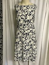 Chap's Ivory /navy Crew Neck Sleeveless A Line Dress Women's Plus Size 22w