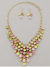 Gold and Multi Crystal Necklace Set