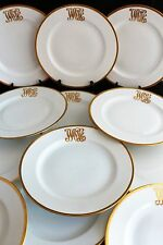 VINTAGE SET 12 ROSENTHAL GERMANY WHITE PORCELAIN DINNER PLATES GOLD ENCRUSTED