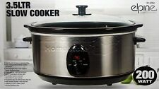 3.5L Premium Black Slow Cooker Pot With Removable Ceramic Inner Bowl Glass Lid