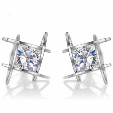Fashion Women Elegant Crystal Rhinestone Square Ear Stud Earrings Jewelry Silver
