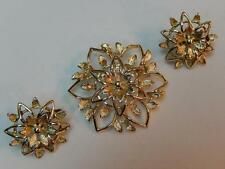 Vintage Sarah Coventry Peta-Lure Gold Tone Brooch and Clip Earrings Set 1962