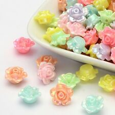 50 x Opaque Lustre Acrylic Beads Flower Mixed Pastel Colours 13mm x 8mm Hole 2mm