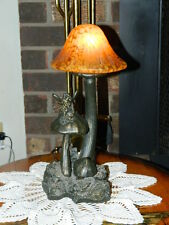 Vintage Mushroom Pixie Fairy Spotted Amber Glass Shade Accent Mood Table Lamp