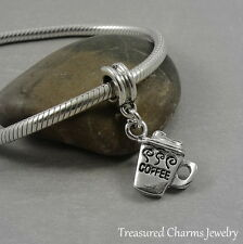 Silver COFFEE MUG Beverage Dangle Bead CHARM fits EUROPEAN Bracelet *NEW*