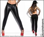 SEXY BLACK TROUSERS TREGGINGS WITH LEATHER LOOK. UK 6.8.10.12. EU 34.36.38.40.