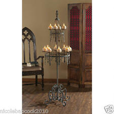 "63.5"" Antique Style Gothic medieval elegantly Crowned finial floor candelabra"