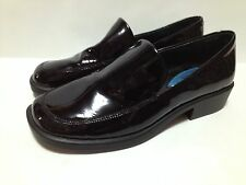 Fitzwell Womens 5 Loafers Black Patent Leather Comfort Shoes Slip On Business