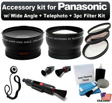 Wide Angle +Telephoto 52mm Lens+ 3pc Filter Kit for Panasonic Lumix LX3 LX5 FZ7
