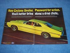 "1970 Mercury Cyclone Spoiler Vintage Ad ""You'd Better Bring Along A Drag Chute"""
