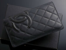 G3455 Authentic CHANEL Cambon Genuine Leather Bifold Long Wallet