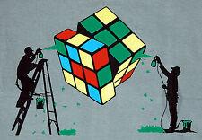 Addict Rubiks Cube Painter Puzzle Banksy Graphic Man T-Shirt L
