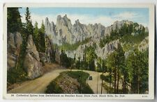 Cathedral Spires Needles Road Black Hills South Dakota SD color post card 1939