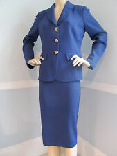 NEW  ST JOHN KNIT SIZE 14 SUIT JACKET & SKIRT BLUE THISTLE SANTANA