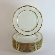 Antique Minton for Tiffany Raised Gold Band Porcelain Dinner Plates Set of 10