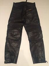 Black Leather Vintage Sport Biker shiny Trousers Jeans Pants Size W 31