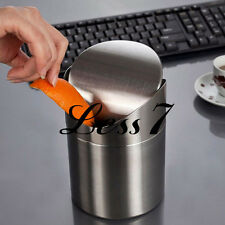 Table Desktop Dustbin Trash Can Waste Container Rubbish Box New Stainless Steel